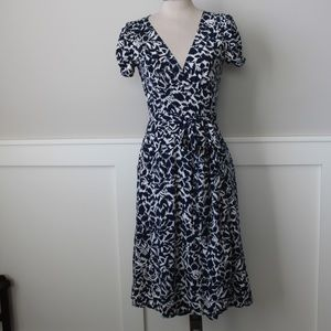 Navy and cream floral bcbg wrap dress
